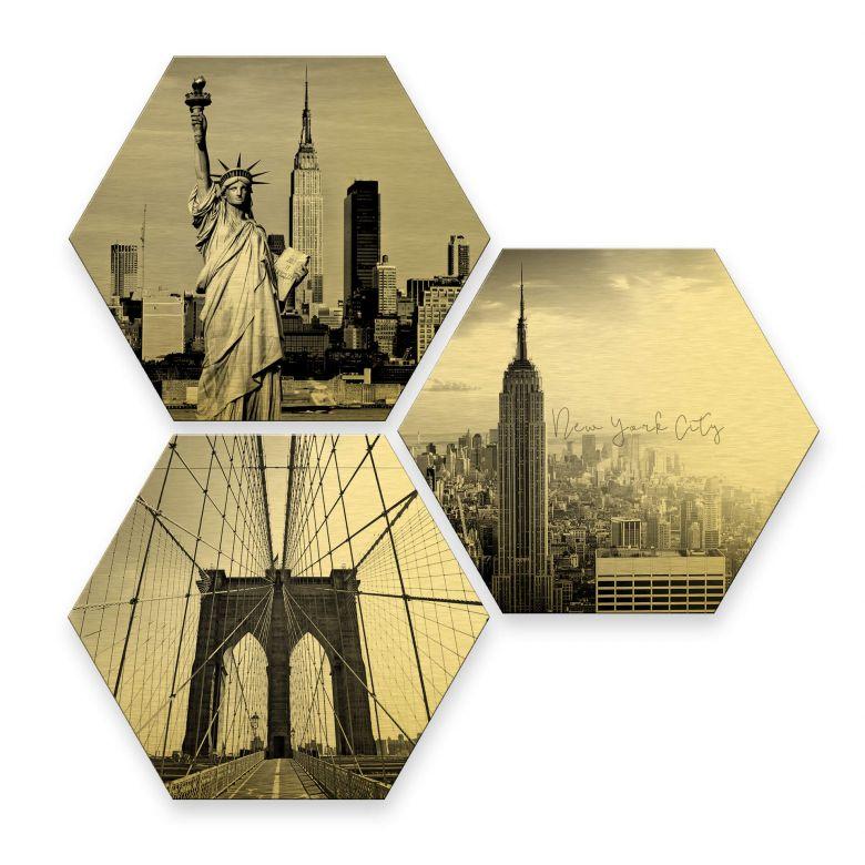 Hexagon - Alu-Dibond-Goldeffekt - Impression of New York City (3er Set)