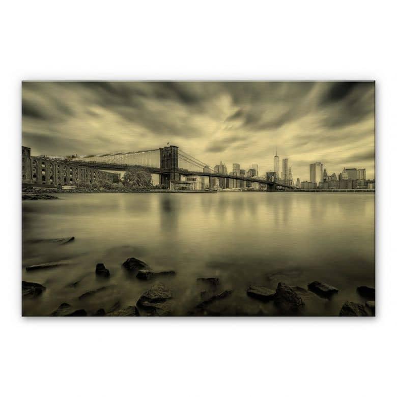 Alu-Dibond mit Goldeffekt Javier - Brooklyn Bridge