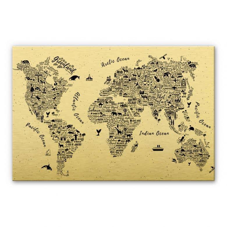 Alu-Dibond mit Goldeffekt Weltkarte - Around the World