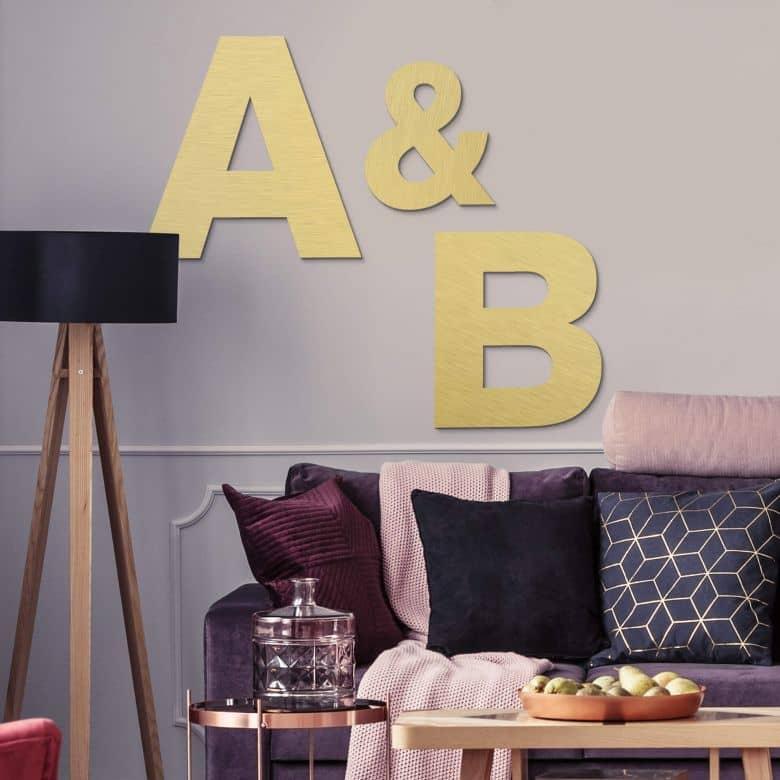 Lettres décoratives en alu-Dibond - Effet doré