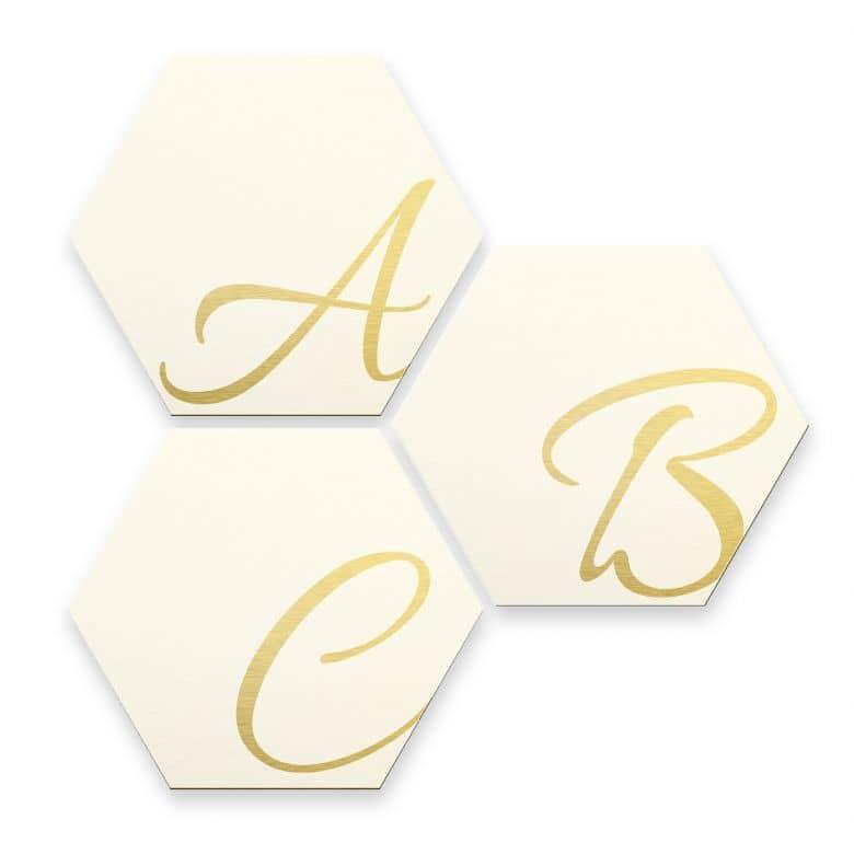 Hexagon Letters - Alu-dibond gold effect white