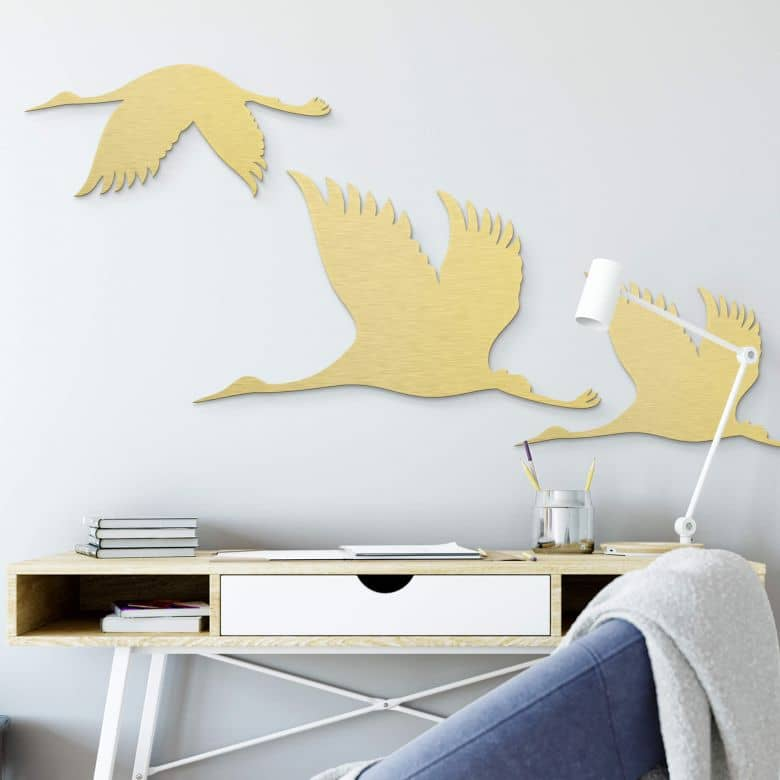 Aluminium gold effect - Crane Birds