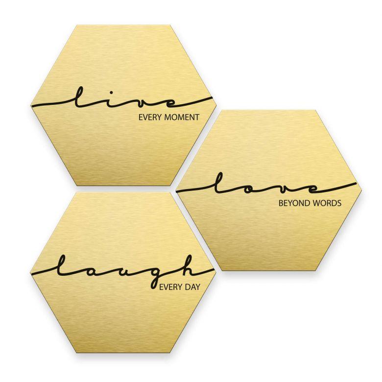 Hexagon alu-dibond goud effect - Live Laugh Love