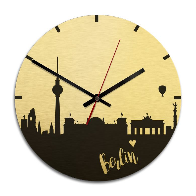 Wanduhr Alu-Dibond-Goldeffekt - Skyline Berlin - Ø 28 cm