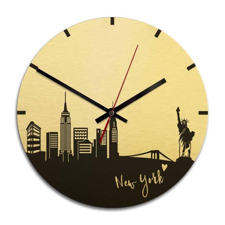 Wanduhr Alu-Dibond-Goldeffekt - Skyline New York - Ø 28 cm