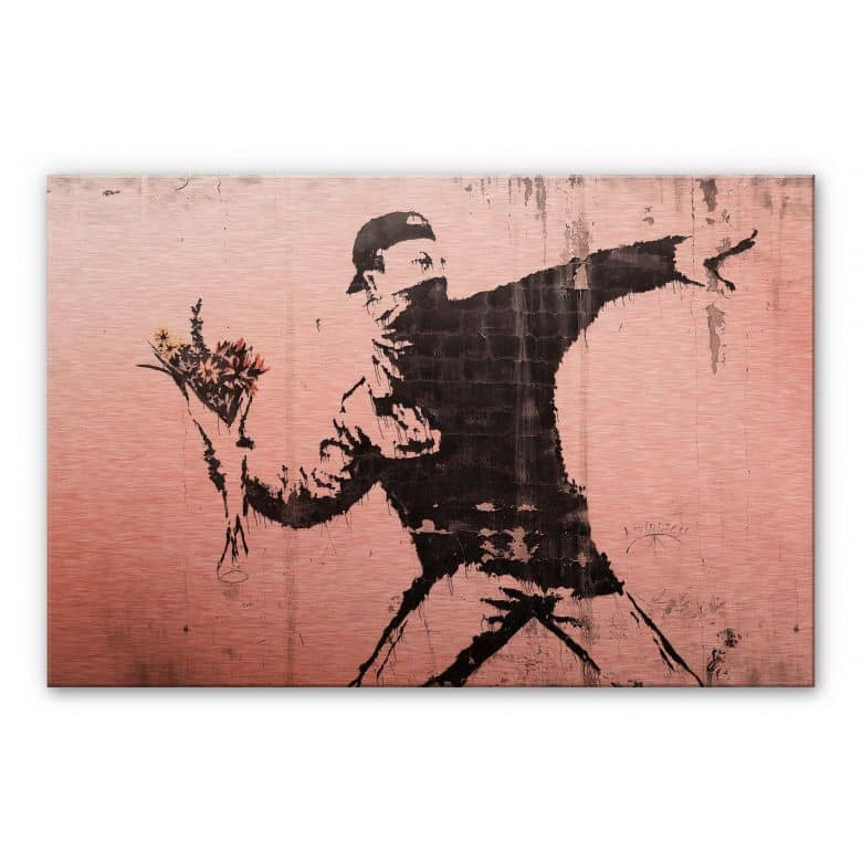 Alu-Dibond copper effect - Banksy - Flower Thrower