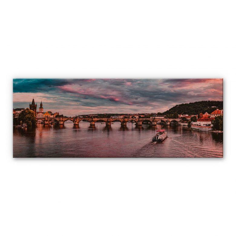 Alu-Dibond mit Kupfereffekt Sonnenuntergang in Prag