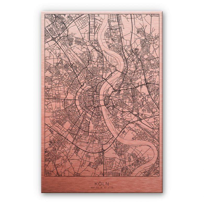 Alu-Dibond mit Kupfereffekt Stadtplan Köln