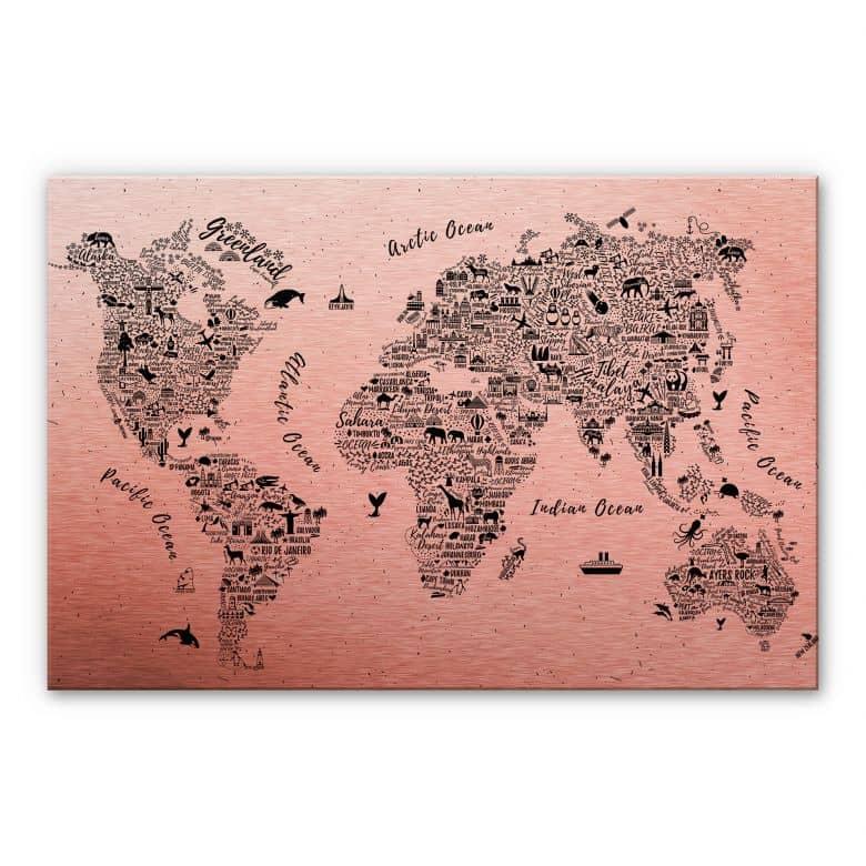 Alu-Dibond mit Kupfereffekt  Weltkarte - Around the world