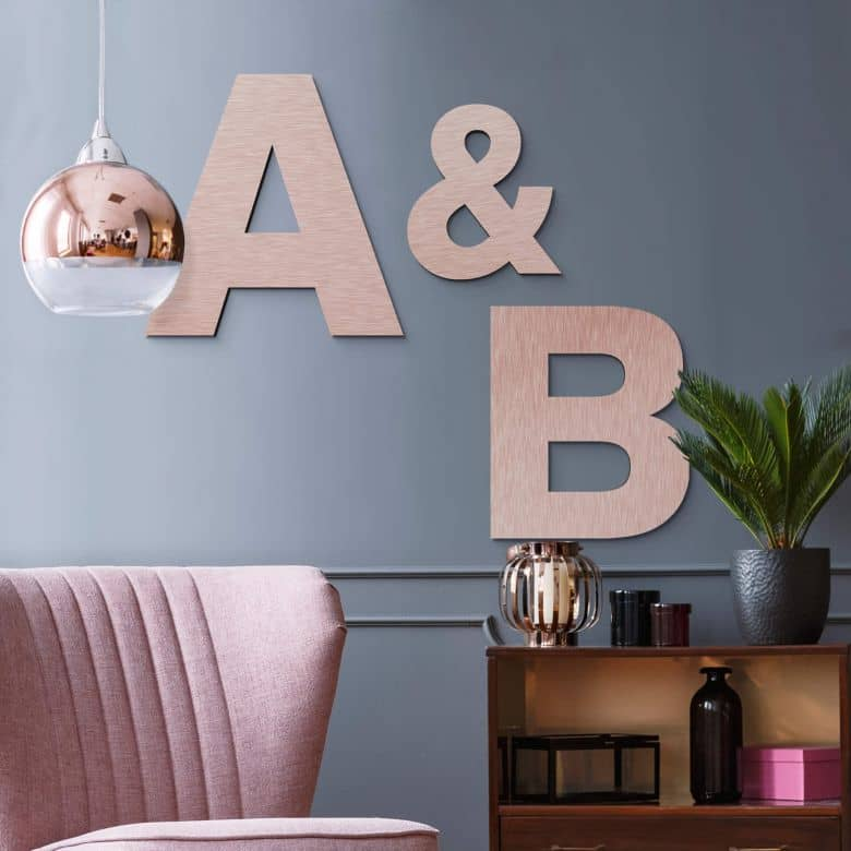Alu-Dibond Buchstaben - Kupfereffekt - Schriftart Swiss