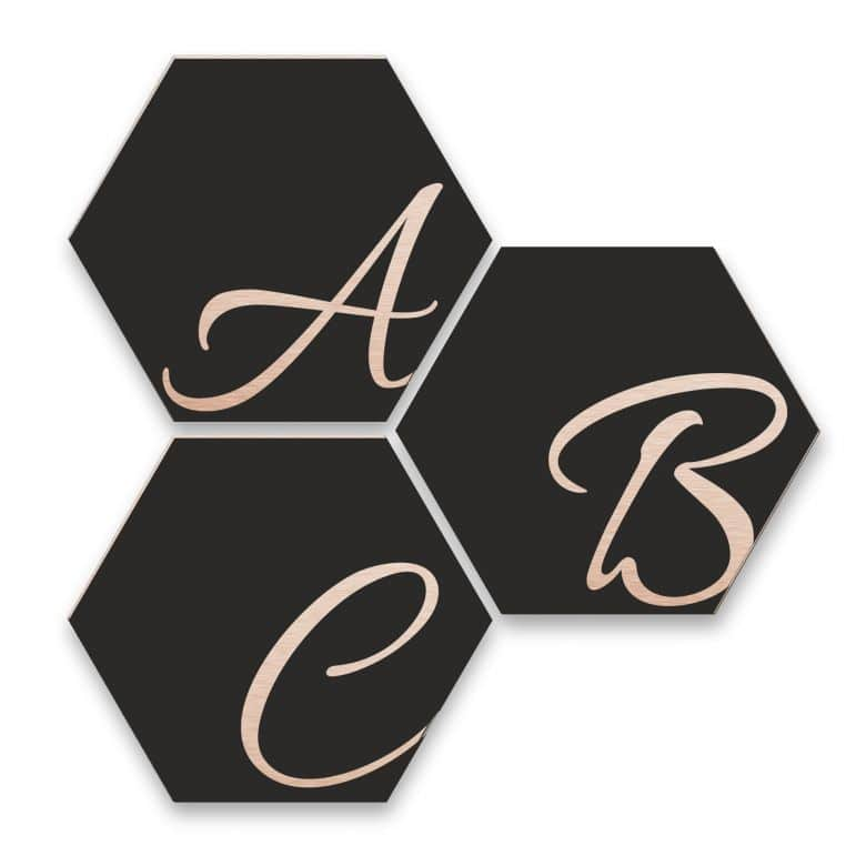 Hexagon Letters - Alu-dibond with copper effect