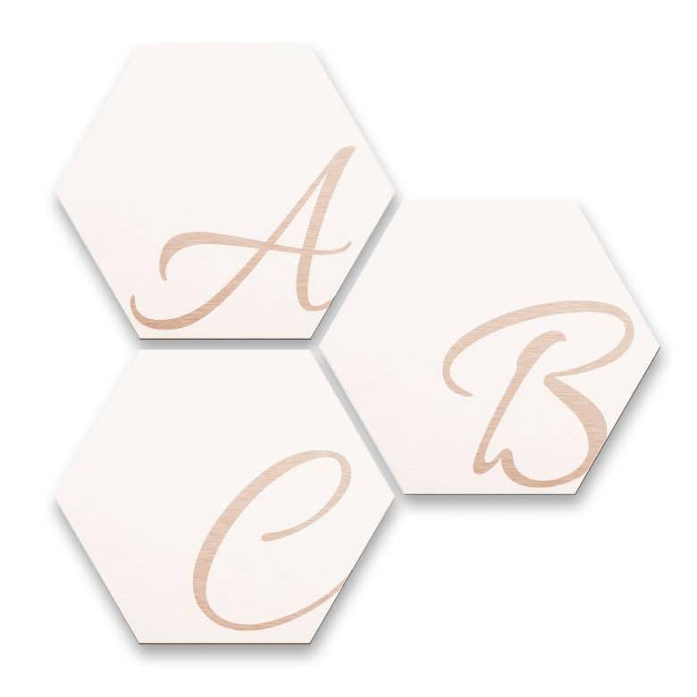 Hexagon Letters - Alu-dibond copper effect white