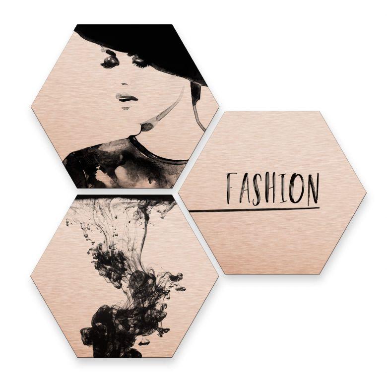 Hexagon - Alu-Dibond-Kupfereffekt - Fashion Mode (3er Set)