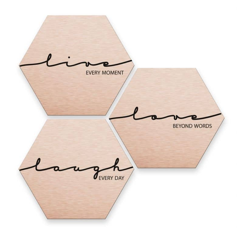 Hexagon alu-dibond koper effect - Live Laugh Love