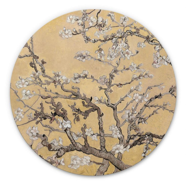 Wandcirkel van Gogh - Amandelbloesem crème