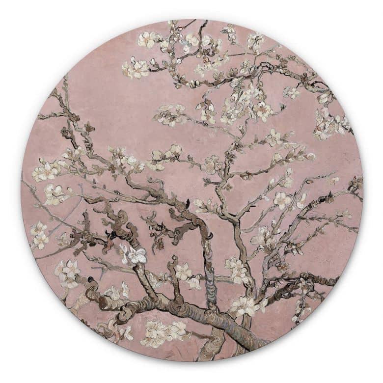 Wandcirkel van Gogh - Amandelbloesem Roze