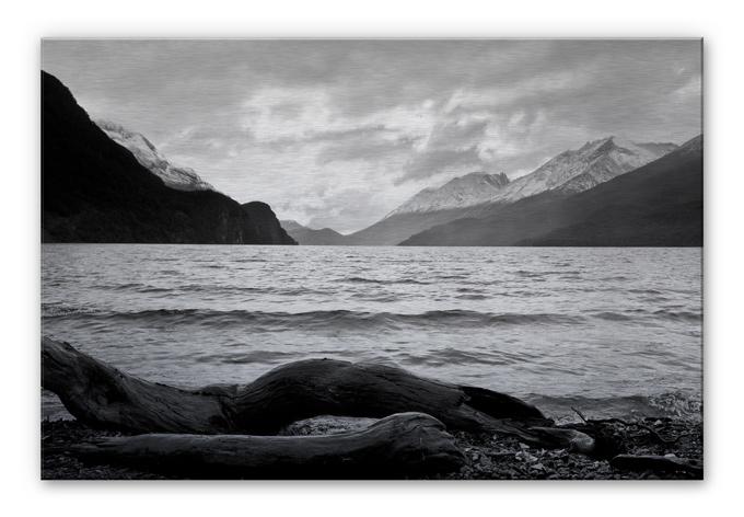 Alu-Dibond Bild Log and Lake