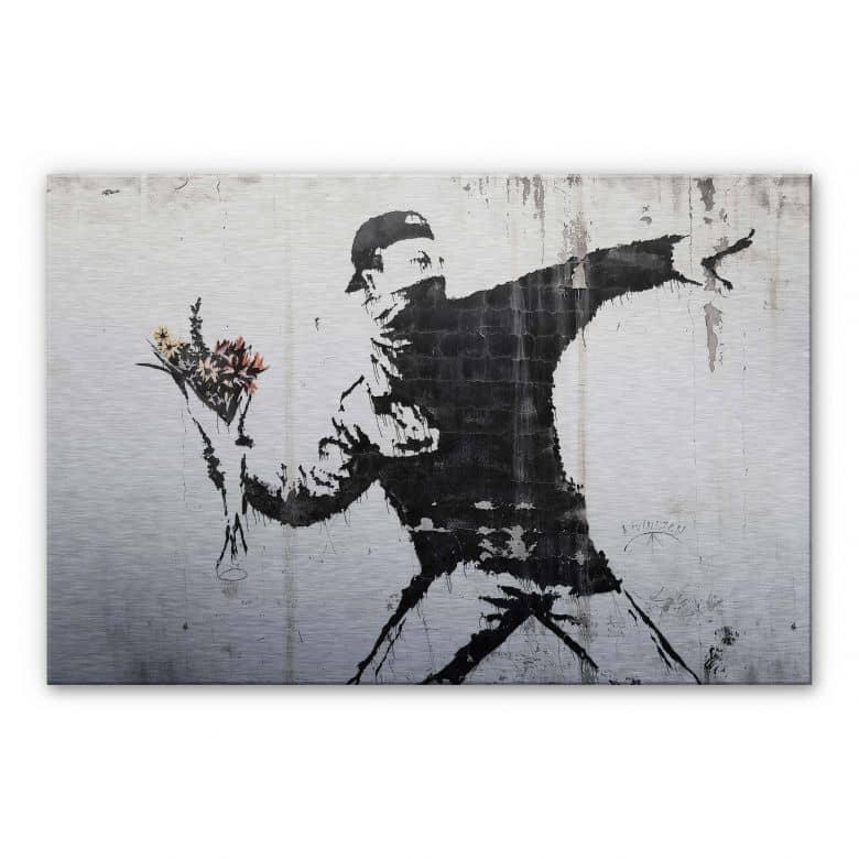 Alu-Dibond silver effect - Banksy - Flower Thrower