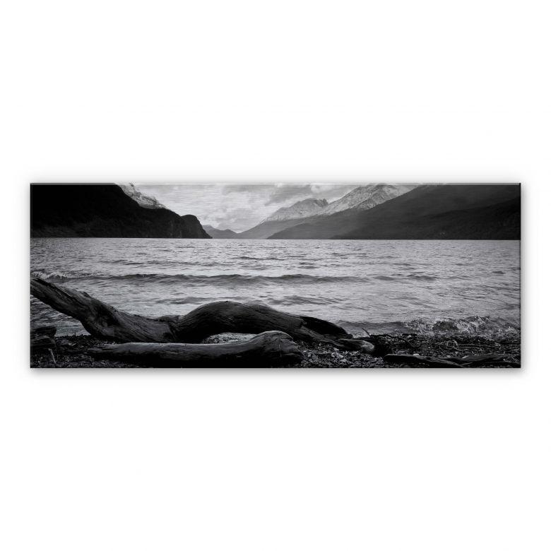 alu dibond mit silbereffekt log and lake im panoramaformat von k l wall art wall. Black Bedroom Furniture Sets. Home Design Ideas