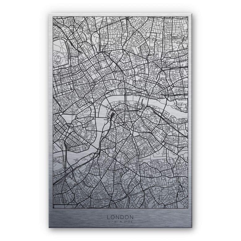 Alu-Dibond mit Silbereffekt Stadtplan London