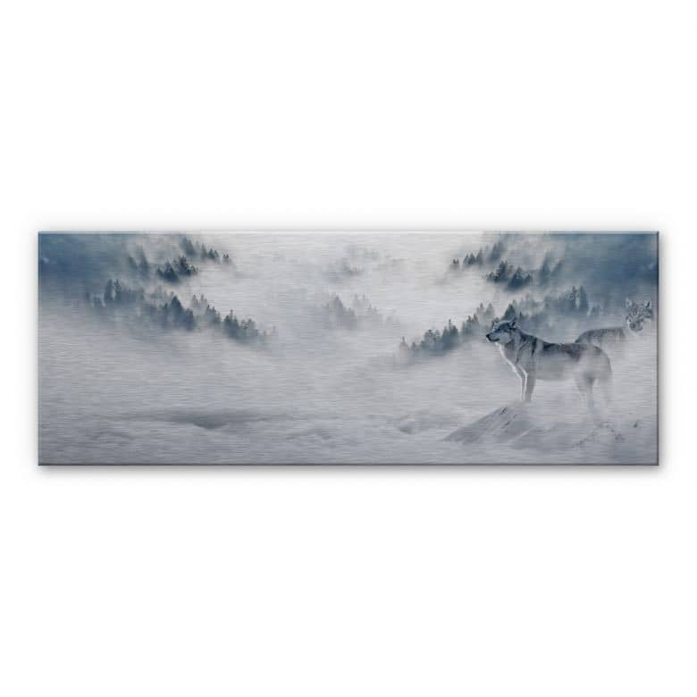 Alu-Dibond Bild Wölfe im Schnee - Panorama