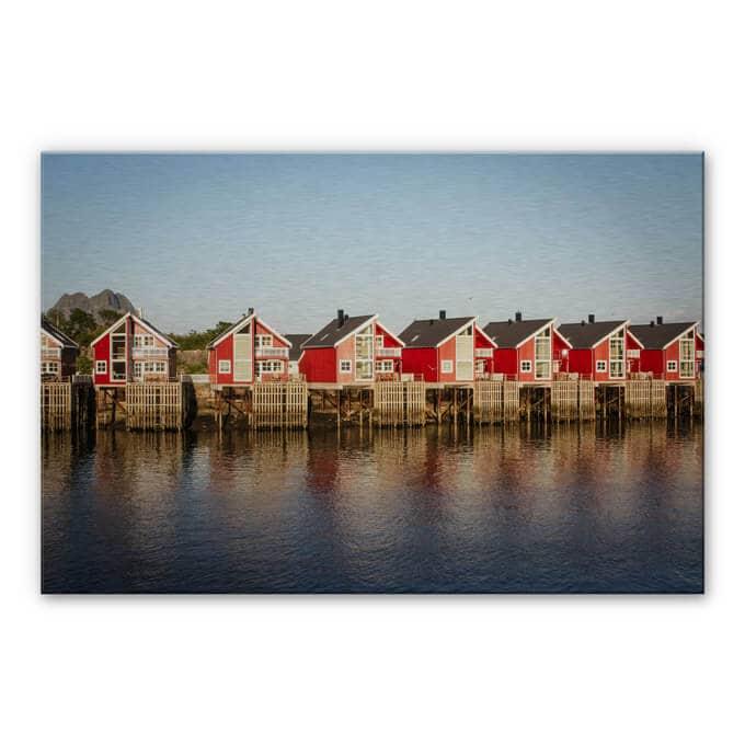Alu-Dibond Bild Ferienhäuser am Meer