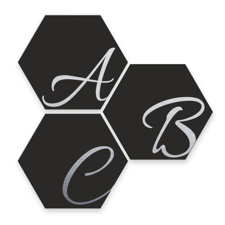 Hexagon Letters - Alu-dibond with silver effect