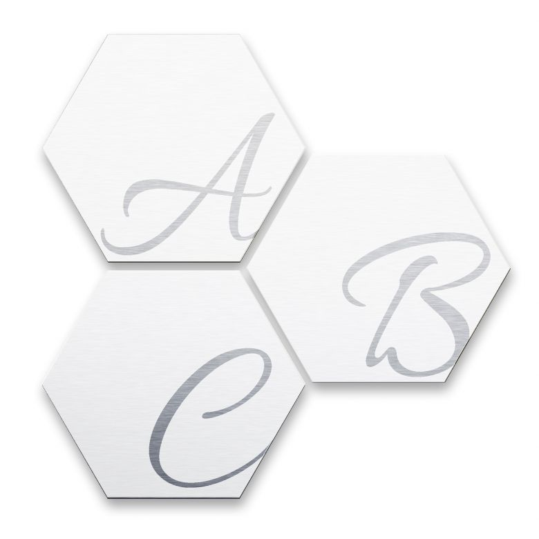 Hexagon Letters - Alu-dibond silver effect white