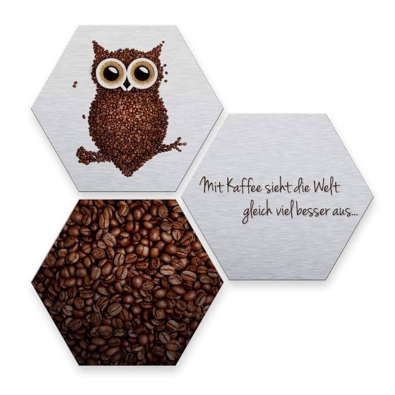 Hexagon - Alu-Dibond-Silbereffekt - Kaffeeeule (3er Set)