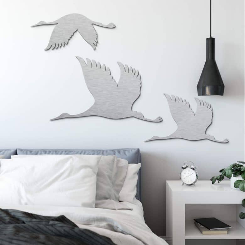 Aluminium silver effect - Crane Birds