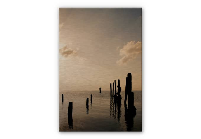 posts at sunset aluminium print. Black Bedroom Furniture Sets. Home Design Ideas