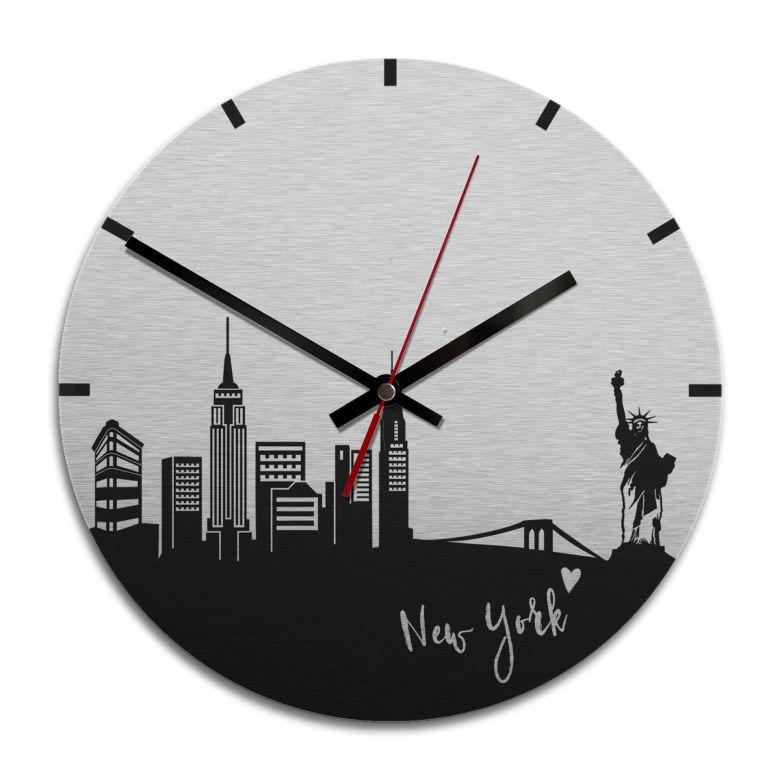 Wanduhr Alu-Dibond-Silbereffekt - Skyline New York  - Ø 28 cm