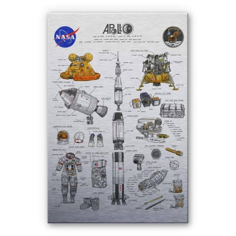 Alu-Dibond mit Silbereffekt Sparshott - Apollo 11