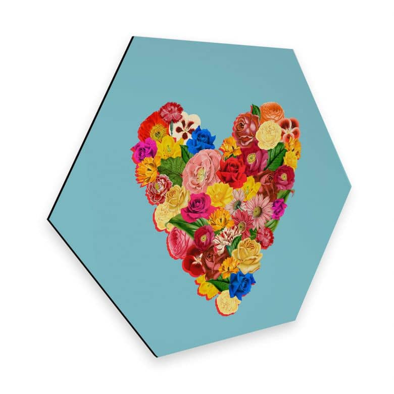 Hexagon - Alu-Dibond Feldmann - Heart Floral
