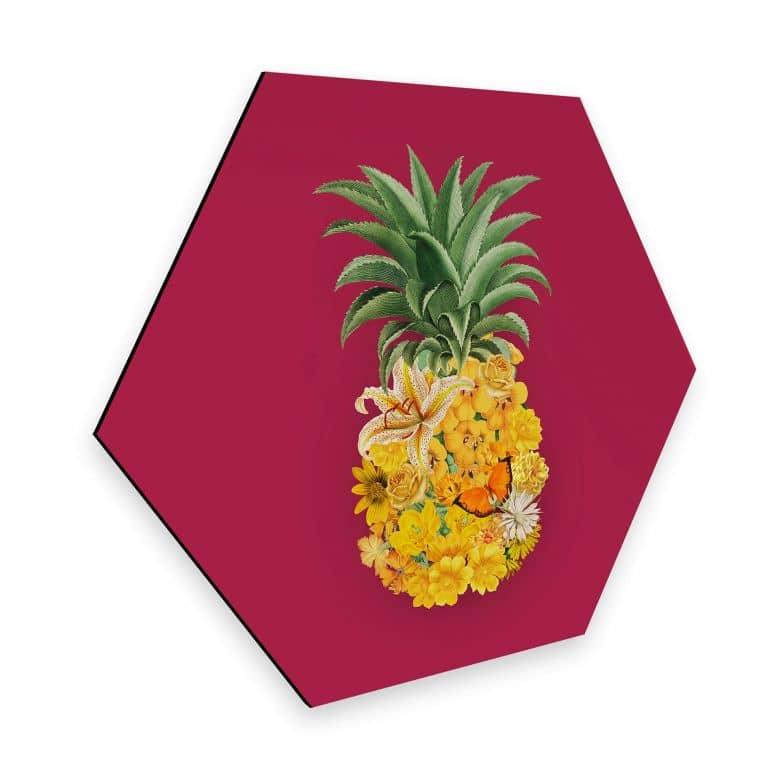Hexagon - Alu-Dibond Feldmann - Pineapple Pink Floral