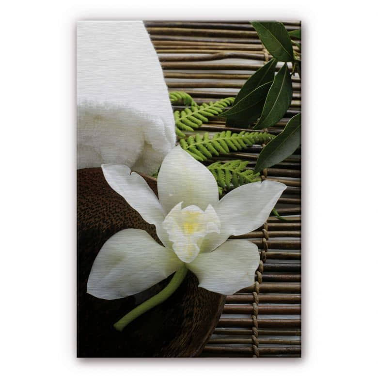 Alu-Dibond mit Silbereffekt Wellness Orchidee