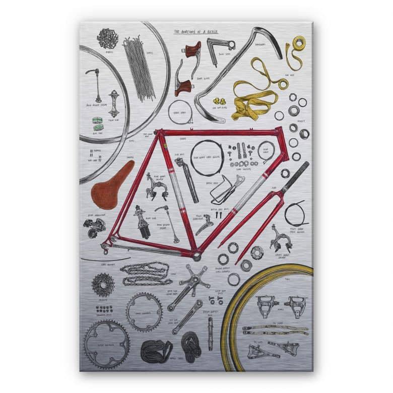 Alu-Dibond mit Silbereffekt Sparshott - Aufbau eines Fahrrads
