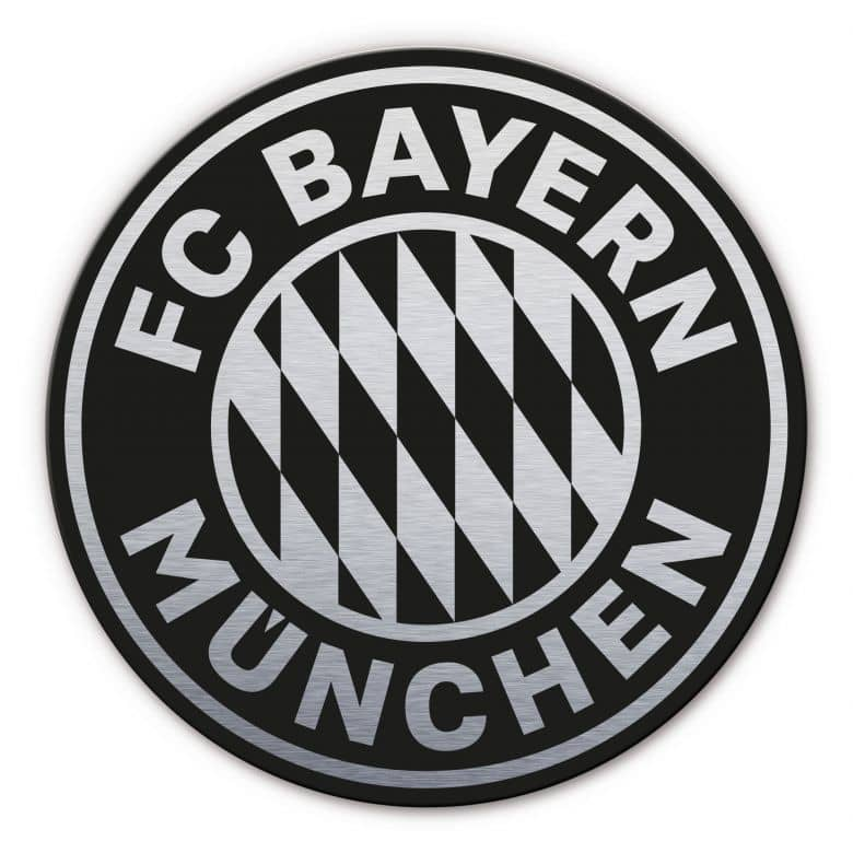 Alu-Dibond mit Silbereffekt FC Bayern Logo