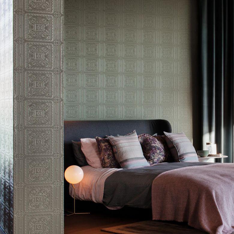 Anaglypta® Turner Tile Luxuriöse strukturierte Vinyltapete überstreichbar, weiß