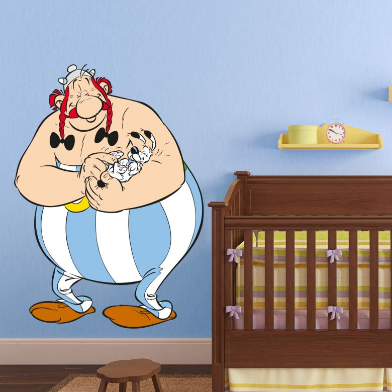 Wandtattoo Asterix & Obelix - Obelix kuschelt mit Idefix