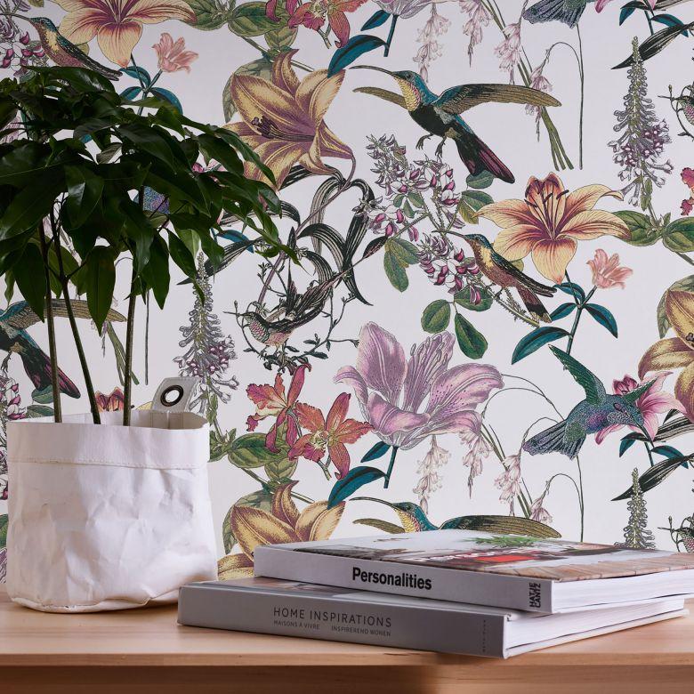 Architects Paper Vliestapete Jungle Chic Blumentapete Vogeltapete bunt, grün, gelb