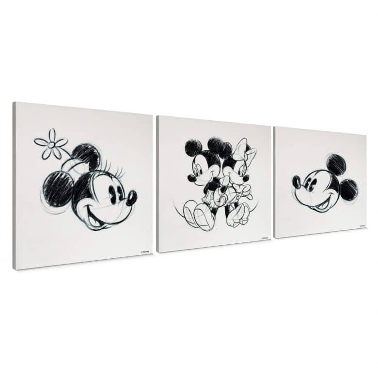 3-er Set Leinwandbild Mickey Minnie Sketch, Rücken an Rücken