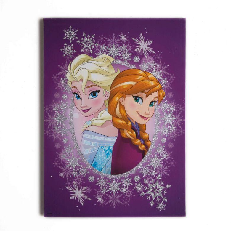 Leinwandbild Die Eiskönigin, Frosted Elsa & Anna (Glitzer)