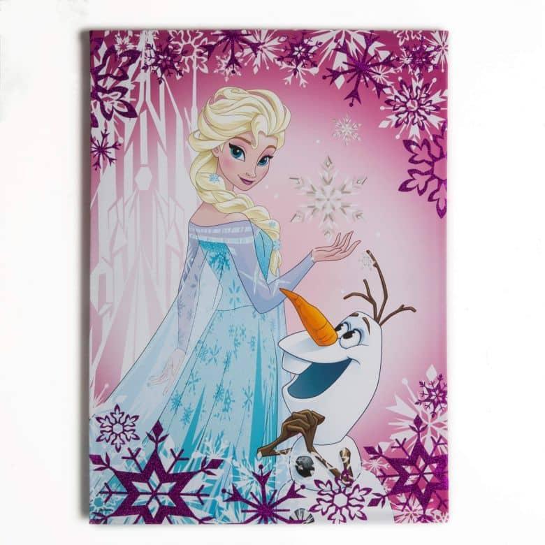 Leinwandbild Die Eiskönigin Frosted Elsa and Olaf (Glitzer)