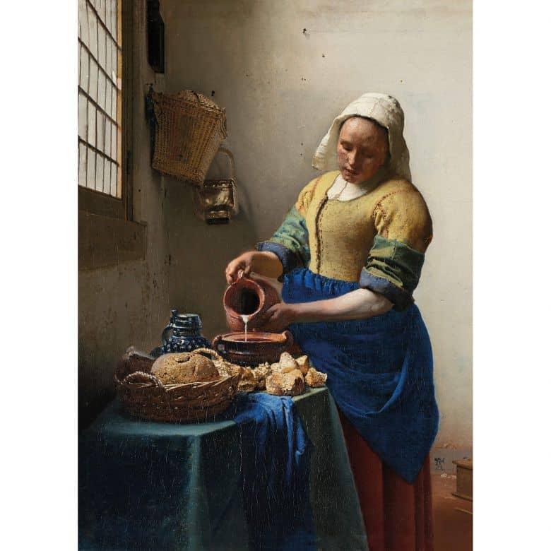 Leinwandbild Dienstmagd mit Milchkrug  (Johannes Vermeer)