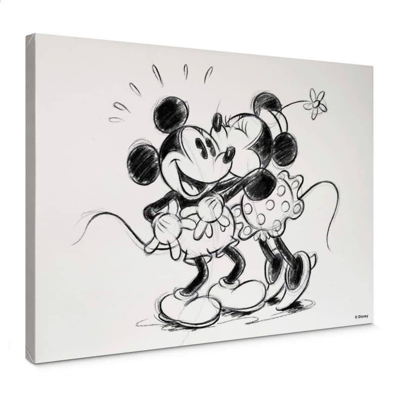 Leinwandbild Mickey Minnie Sketch Hugging
