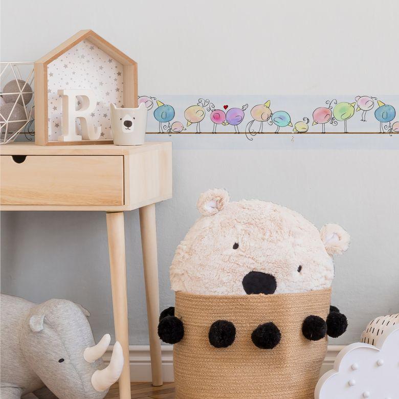 Lovely Kids selbstklebende Kinderzimmer Bordüre Funny Birds mit niedlichen Vögeln