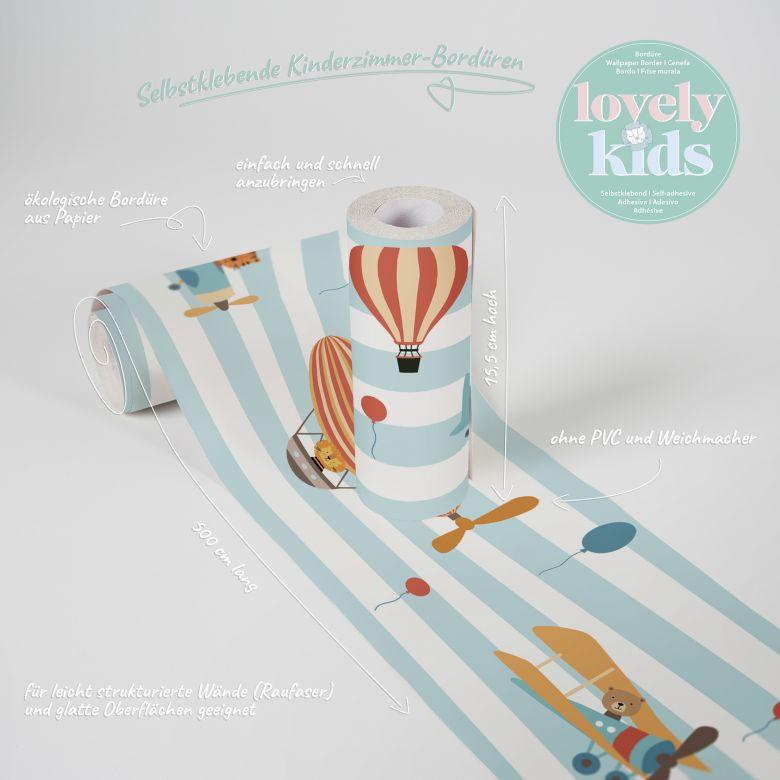 Lovely Kids selbstklebende Kinderzimmer Bordüre Flying Party mit Ballon, Luftschiff und Flugzeug