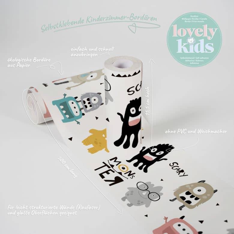 Lovely Kids selbstklebende Kinderzimmer Bordüre Monster Party mit niedlichen Monstern