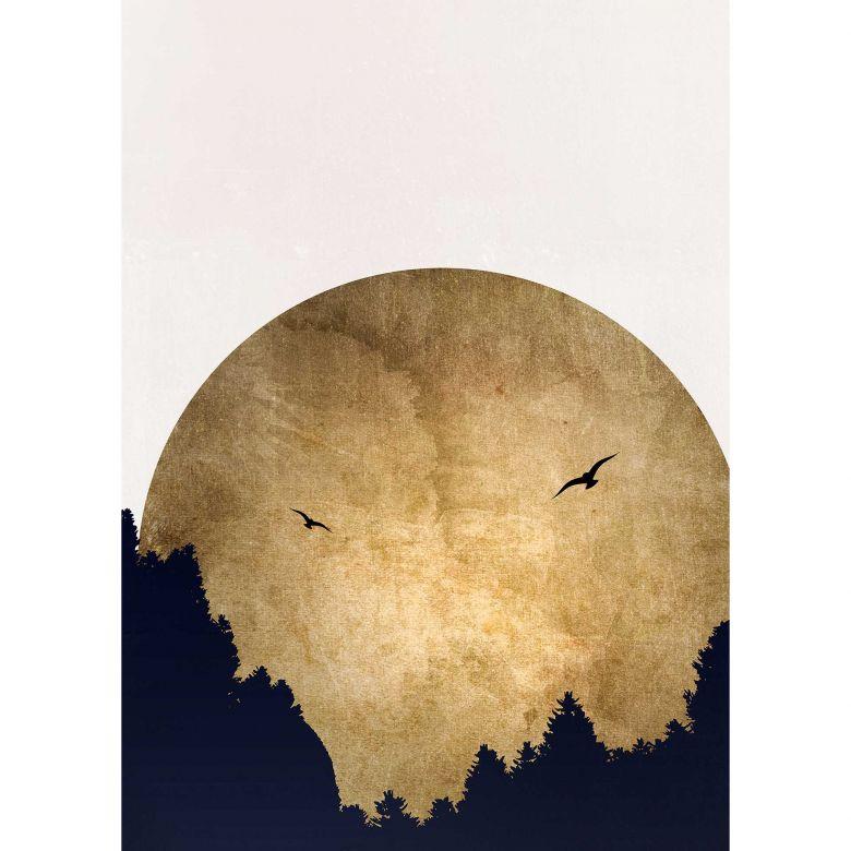 Livingwalls Fototapete ARTist Two Birds mit Mond gold, schwarz, weiß